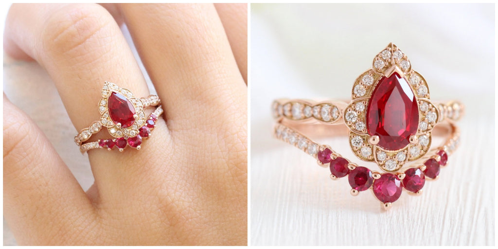 Vintage floral pear ruby engagement ring rose gold bridal set with curved diamond ruby wedding band by la more design jewelry