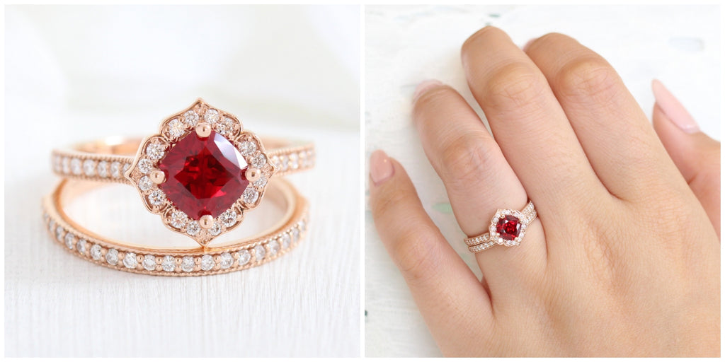 Vintage floral ruby engagement ring rose gold bridal set with matching diamond wedding band by la more design jewelry