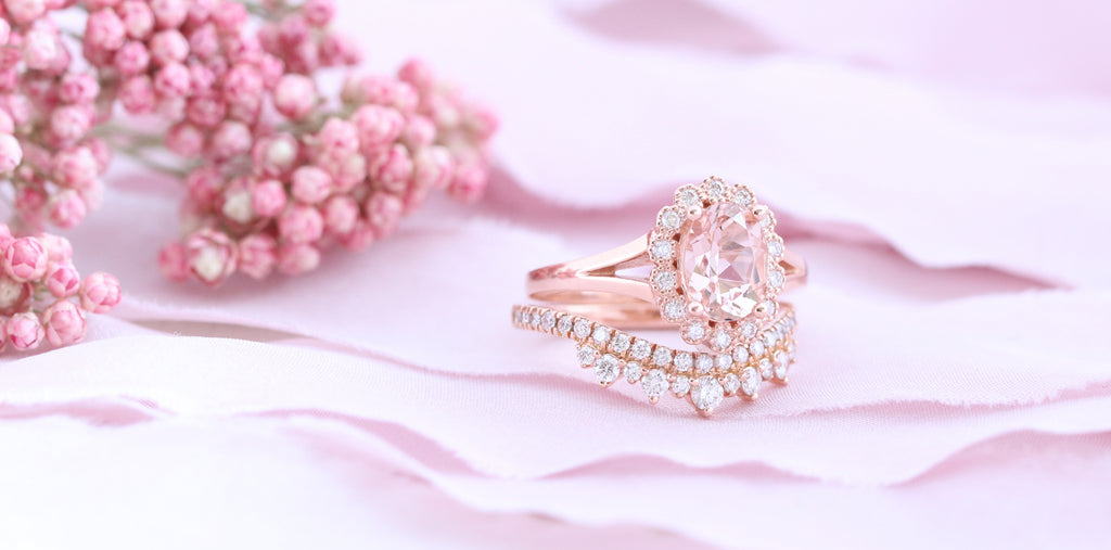 Vintage inspired engagement ring and curved diamond wedding band set by la more design
