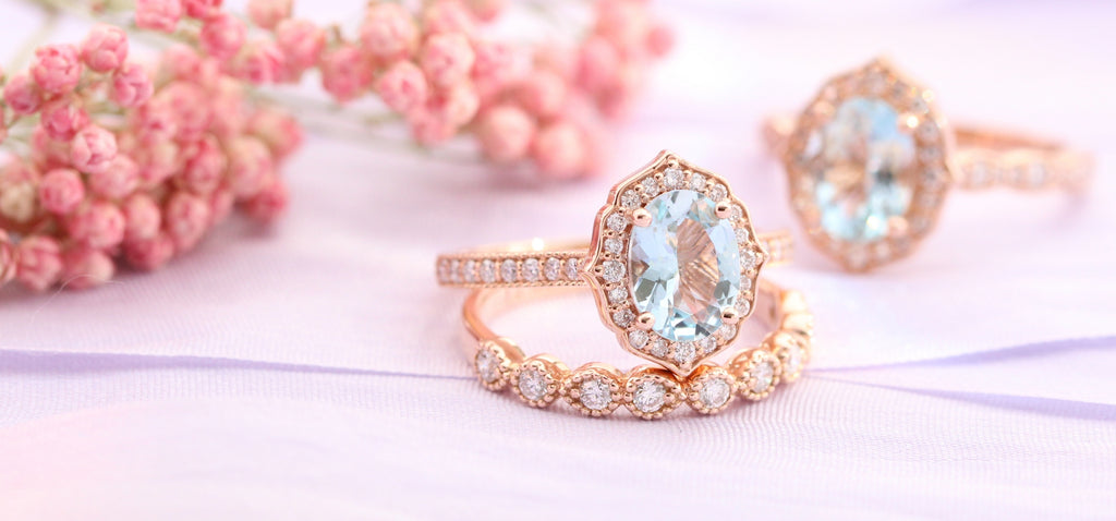 Vintage inspired engagement rings and bridal set rose gold with moissanite, morganite or aquamarine by la more design jewelry