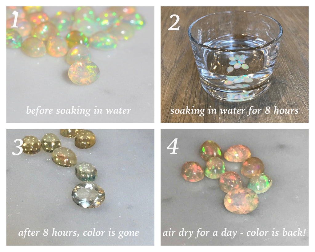demonstration of how Ethiopian opal changes color
