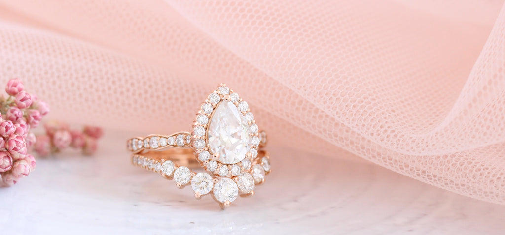 halo diamond engagement rings and wedding sets rose gold by la more design