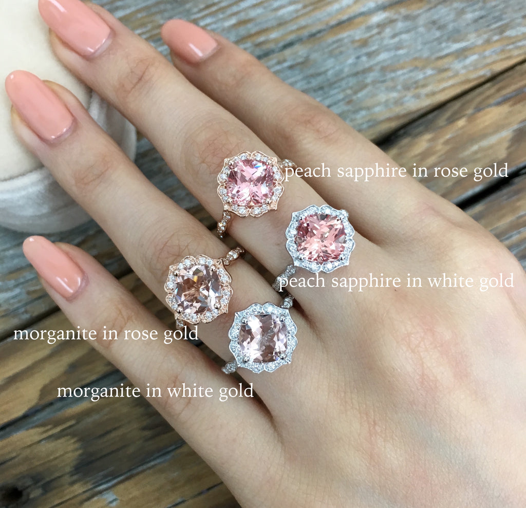morganite ring and peach sapphire ring in white or rose gold by la more design