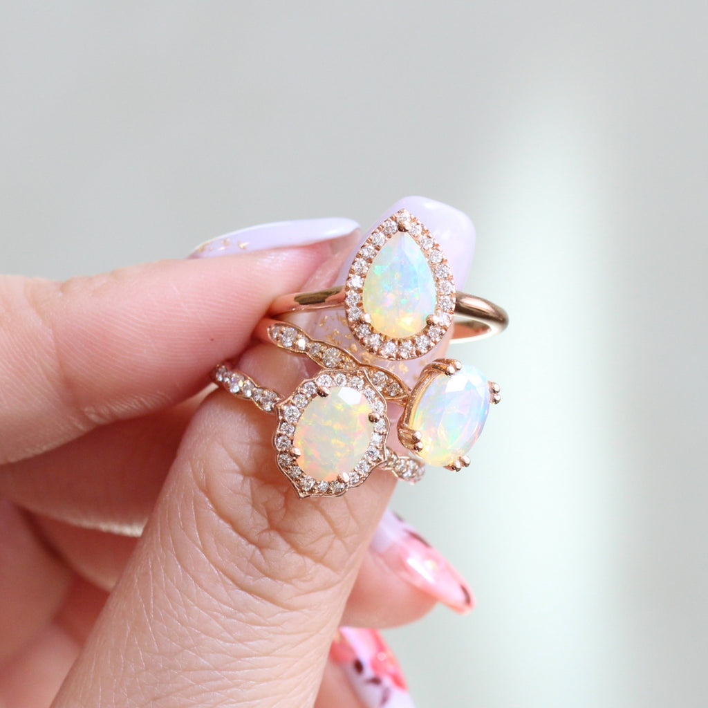 opal engagement rings in rose gold by la more design jewelry