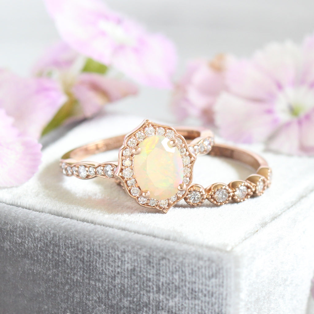 opal ring bridal set in rose gold vintage floral diamond ring setting by la more design
