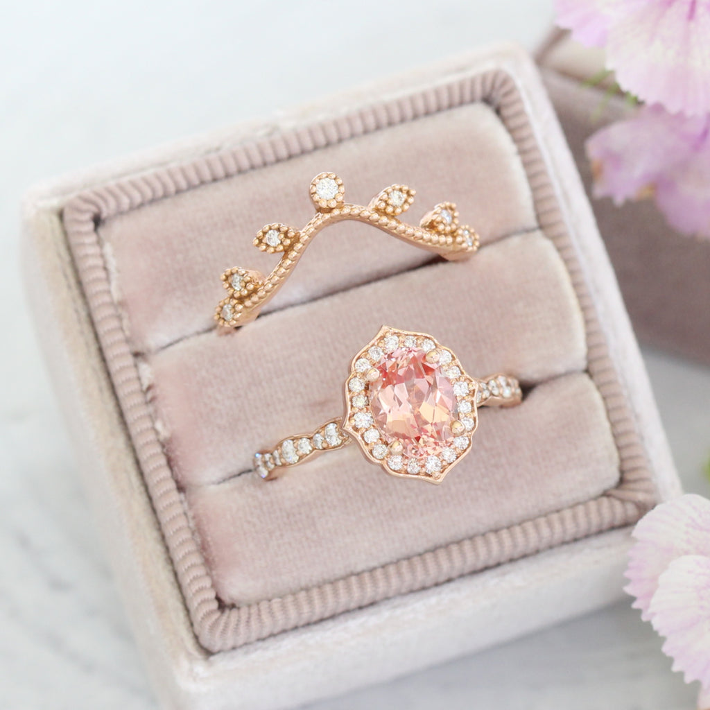 peach sapphire ring in rose gold vintage floral diamond ring pairs with curved leaf diamond wedding band by La More Design