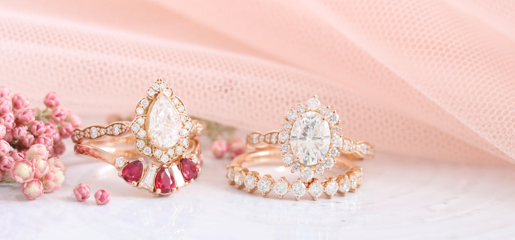 rose gold engagement rings and matching diamond wedding bands bridal sets by la more design jewelry