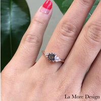 1.10 Carat Salt and Pepper Diamond Ring in 14k Rose Gold 3 Stone Ring, Size 6