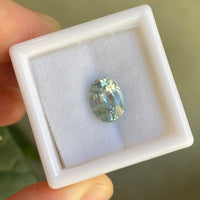 Custom Solitaire Bluish Green Sapphire Ring in Platinum, Size 7.5
