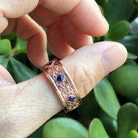 Celtic Mens Wedding Band Princess Cut Sapphire in 14k Rose Gold 8mm by la more design