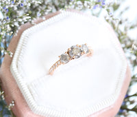 3 Stone Salt and Pepper Grey Diamond Engagement Ring in Rose Gold Pave Band by La More Design Jewelry