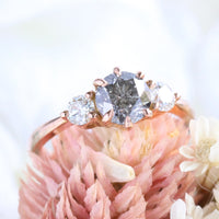 3 stone diamond ring rose gold salt and pepper diamond ring la more design jewelry