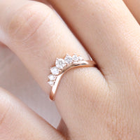 7 stone diamond wedding ring rose gold curved double row wedding band by la more design jewelry