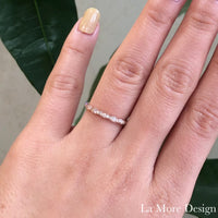 Vintage inspired diamond wedding ring is crafted in 14k rose gold scalloped band studded with brilliant round cut diamonds. This elegant scalloped diamond ring is perfect as a matching wedding band with our vintage floral engagement rings or it can stack up with your other rings.