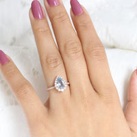 Aqua Blue Sapphire Engagement Ring Rose Gold Halo Diamond Pear Ring by La More Design Jewelry