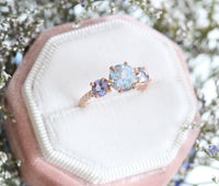 Aqua Blue Sapphire Engagement Ring in Rose Gold 3 Stone Diamond Ring by La More Design Jewelry