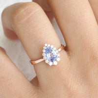 Aqua Blue Sapphire Engagement Ring in Rose Gold Halo Diamond Pear Ring by La More Design Jewelry