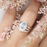 Aqua blue sapphire engagement ring diamond stacking ring set rose gold by la more design jewelry