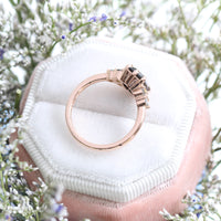 Black Spinel Diamond Engagement Ring in Rose Gold 3 Stone Grey Diamond Ring by La More Design Jewelry