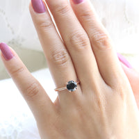 Black Spinel Diamond Engagement Ring in Rose Gold Low Profile Solitaire Ring by La More Design Jewelry