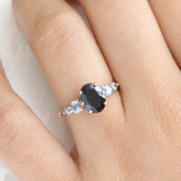Black Spinel and Montana Sapphire Engagement Ring in Rose Gold 5 Stone Diamond Ring by La More Design Jewelry