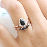 Black spinel diamond pear engagement ring rose gold halo ring and black diamond wedding band by la more design jewelry