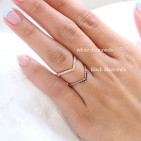 Black diamond wedding ring rose gold chevron wedding band la more design jewelry