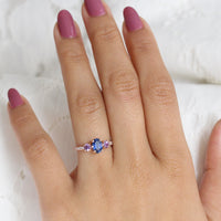 Blue and Purple Sapphire Engagement Ring in Rose Gold 3 Stone Diamond Ring by La More Design Jewelry