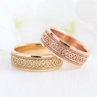 Celtic Knot Wedding Band Rose Gold Eternity Mens Wedding Ring la more design jewelry