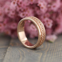 Celtic Knot Mens Wedding Band in Solid 14k Rose Gold 6mm Wide Eternity Ring