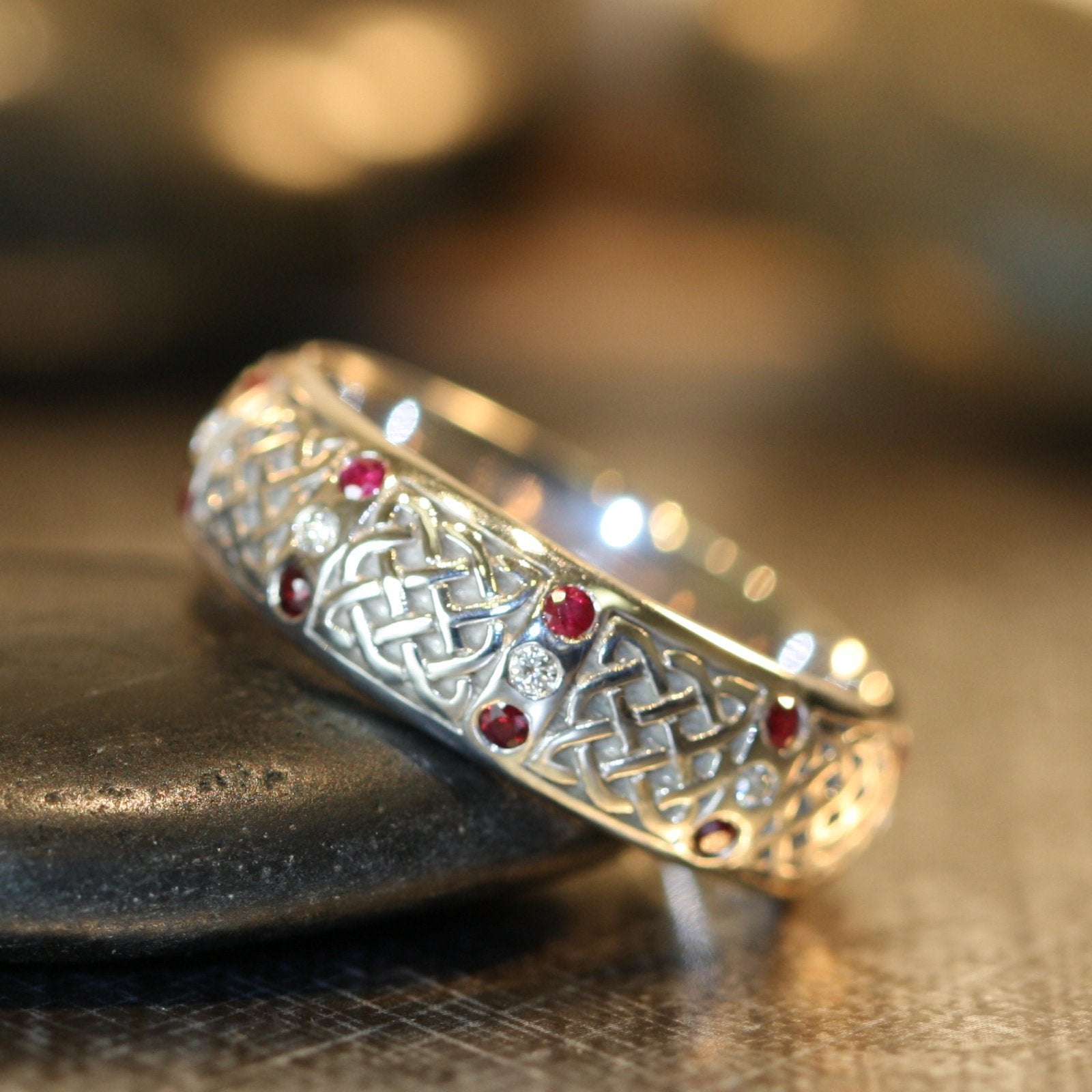 Diamond And Ruby Mens Celtic Knot Wedding Ring In 14k White Gold 6mm
