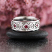 Celtic Mens Wedding Band Princess Cut Ruby in 14k White Gold 8mm by la more design