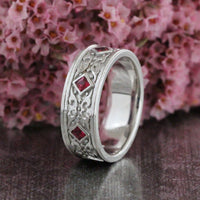 Princess Cut Ruby Wedding Band in 14k White Gold 8mm Mens Celtic Ring