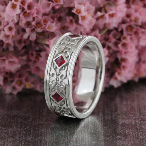 7f4a96c9f04bc Princess Cut Ruby Wedding Band in 14k White Gold 8mm Mens Celtic Ring - 14k  Rose Gold / S1