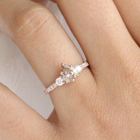 Champagne Diamond Engagement Ring in Rose Gold 3 Stone Pear Ring by La More Design Jewelry