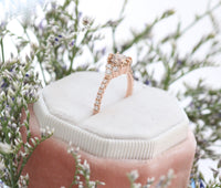 Champagne Diamond Engagement Ring in Rose Gold 3 Stone Ring by La More Design Jewelry