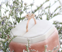 Champagne Diamond Engagement Ring in Rose Gold Cluster Diamond Ring by La More Design Jewelry