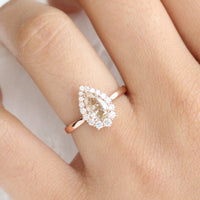 Champagne Diamond Engagement Ring in Rose Gold Halo Diamond Pear Ring by La More Design Jewelry