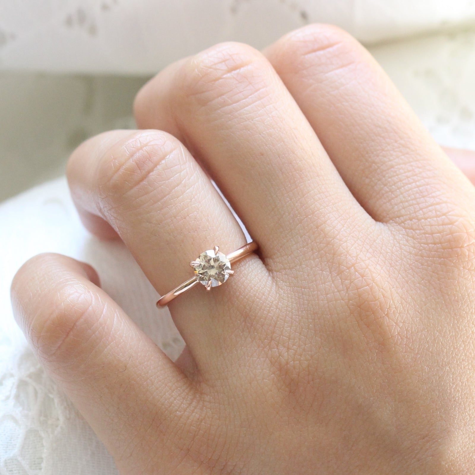 Lovely Champagne Diamond Solitaire Ring Petite