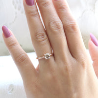 Champagne Diamond Engagement Ring in Rose Gold Low Profile Solitaire Ring by La More Design Jewelry