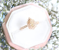 Champagne Diamond Engagement Ring in Rose Gold Vintage Floral Pear Ring by La More Design Jewelry