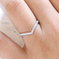 Chevron Diamond Wedding Ring White Gold Curved Band by la more design jewelry