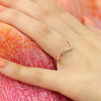 Curved Diamond Wedding Ring in Rose Gold Milgrain Band by La More Design