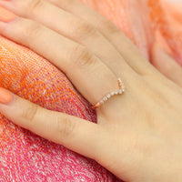 Milgrain Diamond Wedding Ring in Rose Gold Curved Band by La More Design