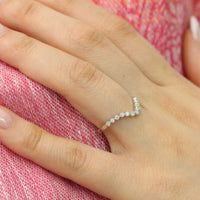 Curved Diamond Wedding Ring in White Gold Milgrain Band by La More Design