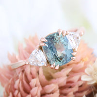 Cushion teal green sapphire ring rose gold 3 stone moissanite ring la more design jewelry