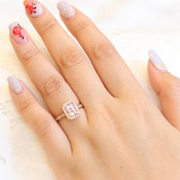 Emerald cut morganite engagement ring in rose gold halo diamond ring by la more design jewelry