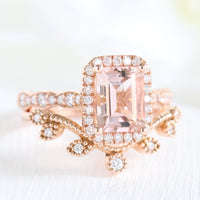 Emerald cut morganite halo ring and curved leaf diamond wedding band in rose gold bridal set by la more design jewelry