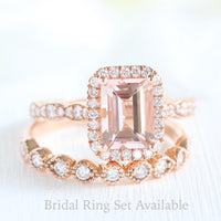 Emerald cut morganite halo ring and milgrain diamond wedding band in rose gold bridal set by la more design jewelry