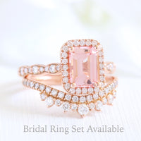 Emerald cut peach sapphire ring and crown diamond band bridal set in rose gold by la more design